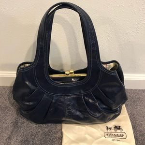 Coach Ergo Pleated Frame Navy Patent Satchel